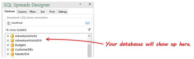 SQL Spreads Designer database list