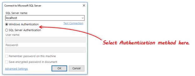 Select SQL Server authentication method