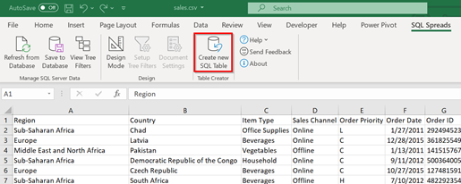 Excel - Create new SQL Table