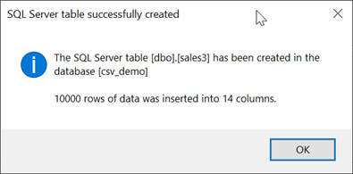 Excel - new SQL Table created