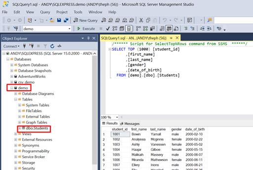 students table in SQL Server