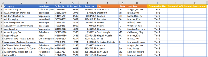 XLOOKUP Example - Commission Tiers completed